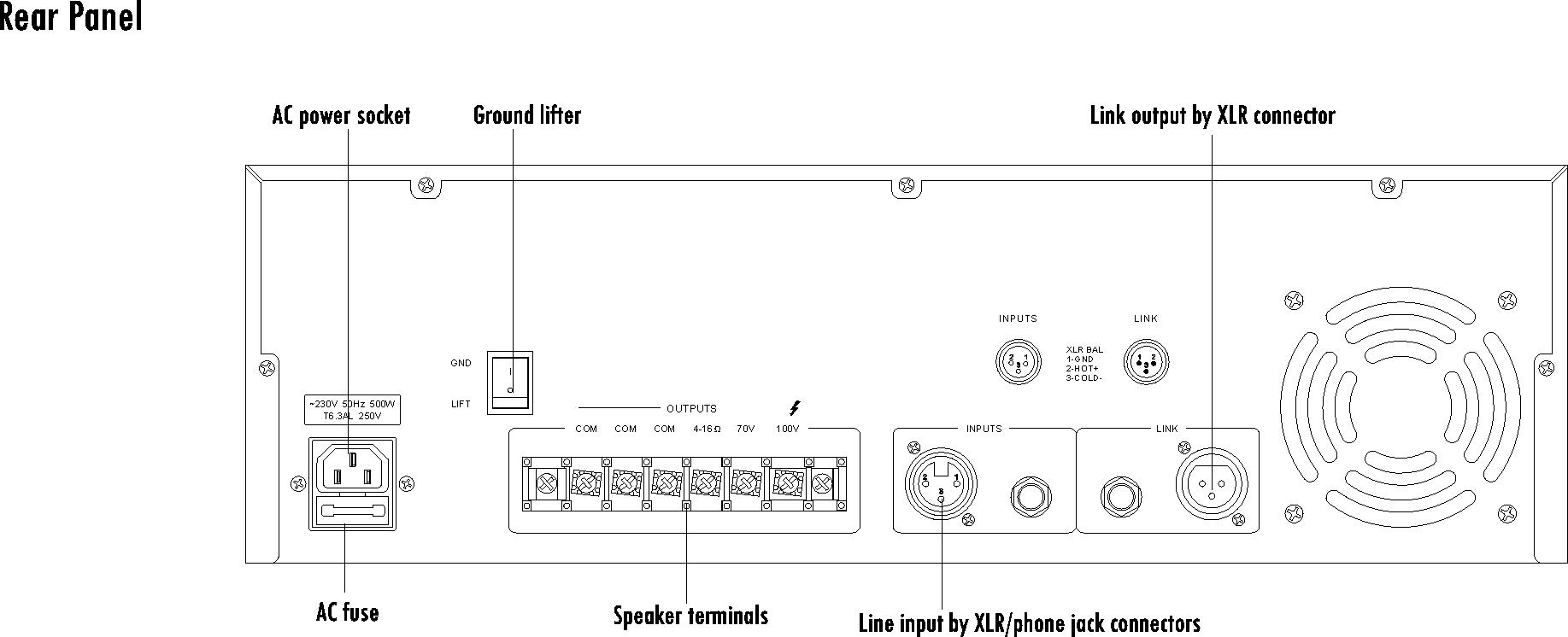 1 Channel Power Amplifier T 6500 500watt Circuit Schematic Diagram